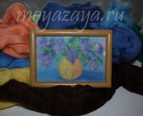Красота своими руками Картина из непряденой шерсти - мастер-класс.